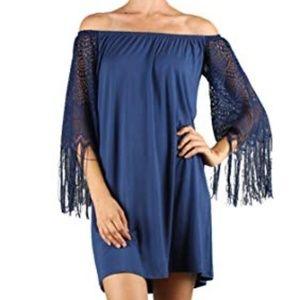 VaVa by Joy Han blue off shoulder Fringe dress